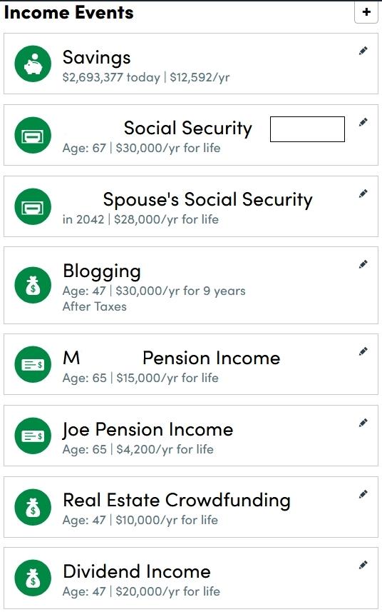 Renda do planejador de aposentadoria